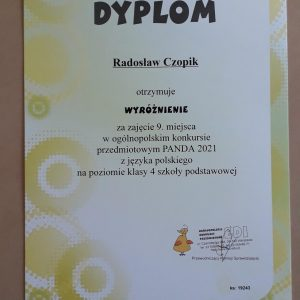 Dyplom za zdobycie wyróżnienia